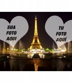 Fotomontagem com a Torre Eiffel iluminada em Paris e dois corações onde colocar as suas fotos