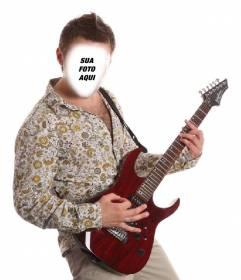 Fotomontagem de ser um guitarrista exótica com sua foto em linha