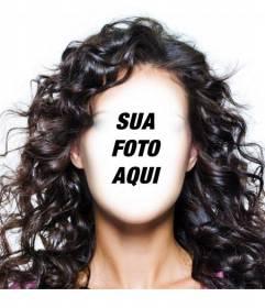 Fotomontagem para mudar o seu penteado e usar longo, escuro e encaracolado cabelo