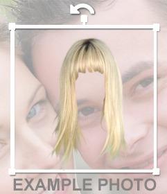 Fotomontagem mulher peruca loira para mudar seu cabelo