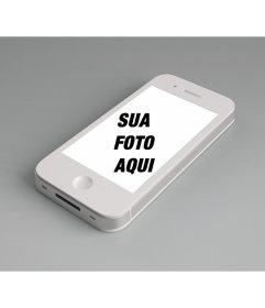 Fotomontagem para adicionar uma foto on-line para a tela de um iPhone branco e personalizar com uma frase livre