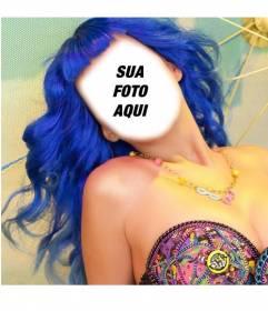 Fotomontagem de Katy Perry com o cabelo azul para colocar seu rosto
