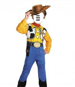 Fotomontagem de Woody de Toy Story para disfarçar o seu filho em linha