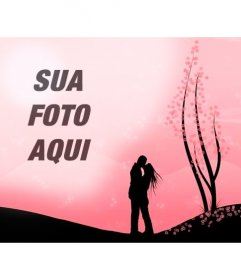 Cria uma montagem romântica com esta imagem de um casal se beijando em uma paisagem com flores rosa ea imagem que você enviar online