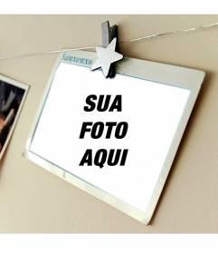 Fotomontagem com um cartão de férias onde você pode colocar sua foto e adicione o texto