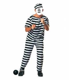 Costume de um preso com correntes para editar a sua foto on-line
