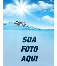 Colagem com uma imagem da água e do céu para colocar a sua foto e personalizar com seu texto online
