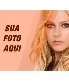 Criar uma colagem com Avril Lavigne e uma imagem de que você edite com filtro laranja decorativo