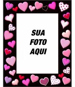 Moldura de foto com corações cor de rosa e fundo preto