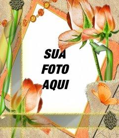 Frame do molde com flores e sua foto