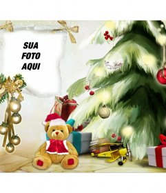 Fotomontagem de Natal com uma árvore de Natal e urso