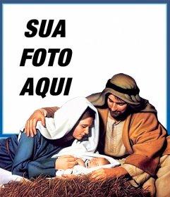 Cartão de Natal de Jesus Manger para carregar sua foto