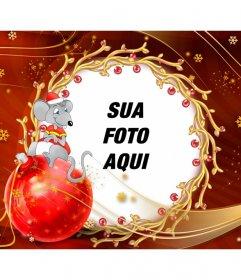 Crianças cartão de felicitar o Natal com um mouse
