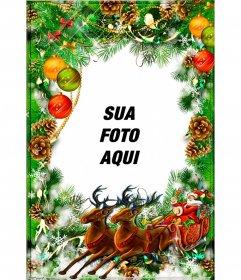 Cartão do Natal para personalizar com uma grinalda e Papai Noel