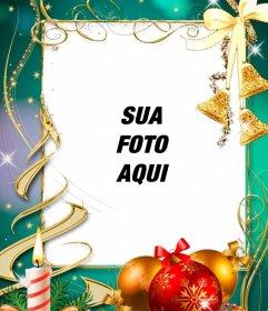 Cartão com decorações de Natal para colocar sua foto
