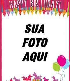 Cartão de aniversário colorido com uma foto
