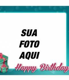 Cartão de aniversário com moldura turquesa para felicitar o aniversário dos seus amigos e familiares