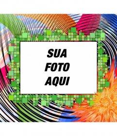 Montage para enquadrar a fotografia. Moldura com cores psicodélicas, e ondas quadradas. formato horizontal