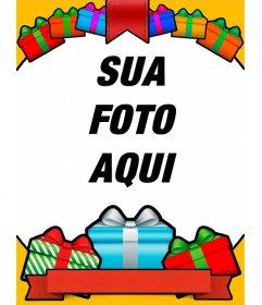 Cartão de aniversário com com os presentes coloridos para suas fotos