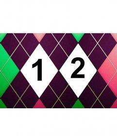Colagem de duas fotos com um diamante modelada verde, rosa e roxo tweed