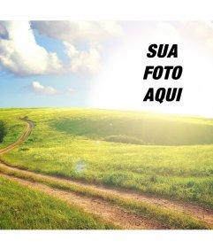 Paisagem rural que você pode editar para colocar sua foto no sol e é livre