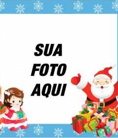 Frame crianças com o Papai Noel e dois filhos para colocar um cartão de foto