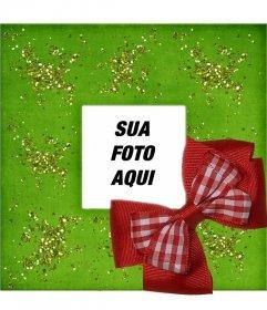 Natal moldura com fundo fita verde e vermelha