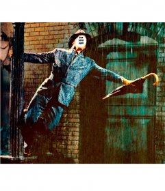 Fotomontagem com a famosa cena de Singin na chuva para editar