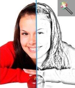Efeito de desenho a lápis on-line para suas fotos