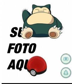 Efeito de foto de Pokemon Go com Snorlax para editar com o seu