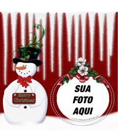 Arredondado moldura com um boneco de neve onde você pode colocar sua foto em uma bola de Natal