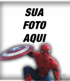 Spider Man com o escudo do Capitão América para colocar sua foto efeito