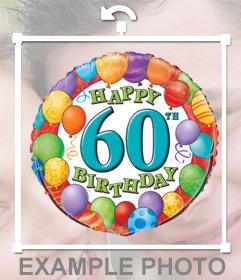 Balão colorido para comemorar o 60º aniversário adicionando-o no seu