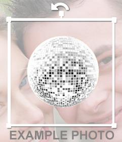 Etiqueta de uma bola de discoteca para decorar as suas fotos com uma atmosfera muito festivo