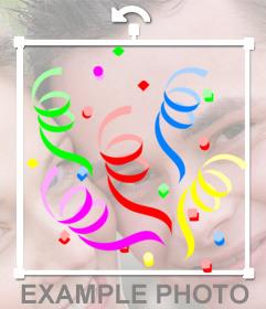 Etiqueta com confetes coloridos para decorar imagens online