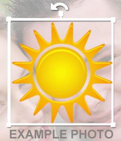 Etiqueta para colocar um sol brilhando em suas fotos