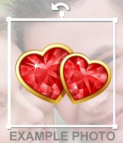 Decore suas fotos com dois corações de diamante com dois corações lustrosos esta etiqueta