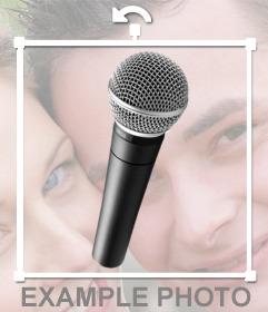 Etiqueta em linha para colar um microfone em suas fotos