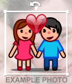 Emoji casal e um coração que você pode adicionar em suas fotos