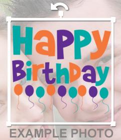 Etiqueta de Feliz Aniversário para colocar em suas fotos