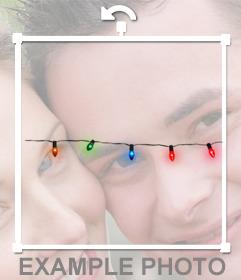 Etiqueta de luzes de Natal para decorar luzes coloridas sua foto