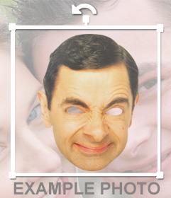 Vista esta máscara engraçada de Mr. Bean rosto e para
