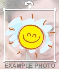 Etiqueta de um desenho de um sol feliz com um grande sorriso