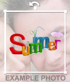 VERÃO cor de texto para colocar em suas fotos e devir está em férias de verão! fotomontagem on-line