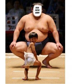 Efeito on-line engraçado para colocar seu rosto em um lutador de sumô