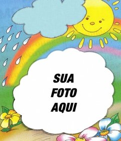 Moldura com o sol no fundo emergindo de uma nuvem e arco-íris, onde você pode colocar sua foto