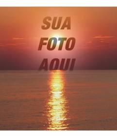 Colagem de foto de um por do sol, em tons de vermelho, com uma face de corte ou uma fotografia. Isso aparece na transparência, com foco na imagem