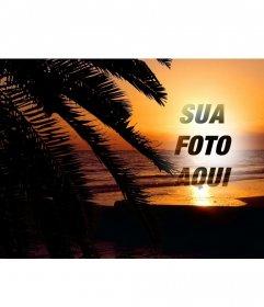 Coloque a sua foto em linha em um por do sol em uma paisagem idílica de uma praia