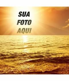Fotomontagem com um por do sol marino, onde a cara cortada ou a imagem aparece no centro do sol, banhado em uma luz brilhante dourada um mar com ondas