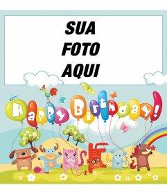 Cartão colorido cheio de animais e balões para desejar feliz aniversário. Coloque sua foto na